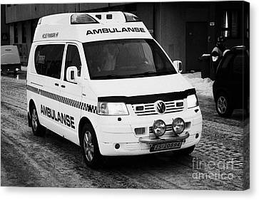 Finnmark Health Service Ambulance Honningsvag Norway Europe Canvas Print by Joe Fox