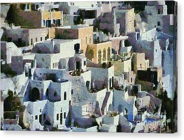Fira Town Canvas Print by George Atsametakis