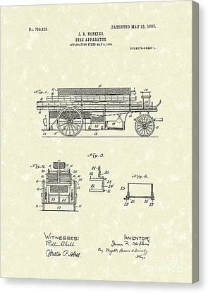 Fire Apparatus 1905 Patent Art Canvas Print by Prior Art Design