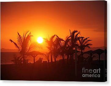 Fire Ball Sunset Canvas Print by Bob Hislop
