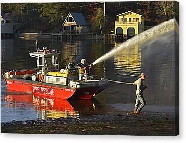 Fire Boat Canvas Print by Susan Leggett