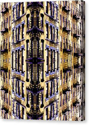 Fire Escapes - New York City Canvas Print by Linda  Parker