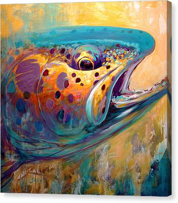 Fire From Water - Rainbow Trout Contemporary Art Canvas Print by Savlen Art