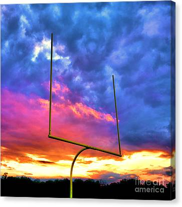 Fire In The Goal Canvas Print by Olivier Le Queinec