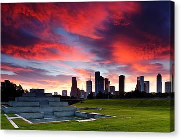 Fire In The Houston Sky Canvas Print by Silvio Ligutti