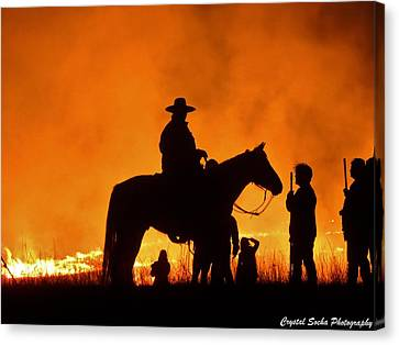 Fire In The Plains Canvas Print by Crystal Socha