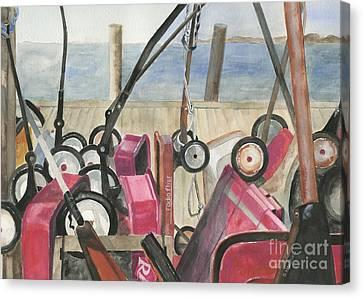 Fire Island Wagon Parking Canvas Print by Sheryl Heatherly Hawkins