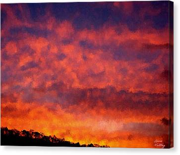 Fire On The Hillside Canvas Print by Bruce Nutting