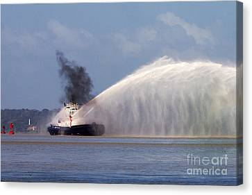 Fireboat Tug Canvas Print by Bob Hislop