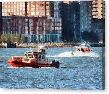 Fireman - Fire Rescue Boat Hudson River Canvas Print by Susan Savad