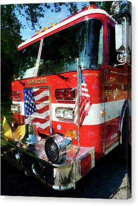 Fireman - Front Of Fire Engine Canvas Print by Susan Savad