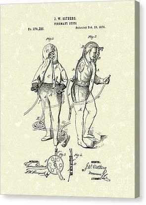 Fireman's Suits 1876 Patent Art Canvas Print by Prior Art Design