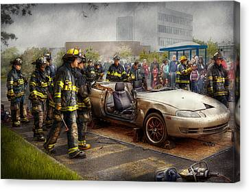 Firemen - The Fire Demonstration Canvas Print by Mike Savad