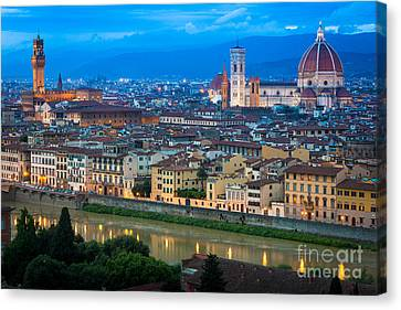 Firenze By Night Canvas Print by Inge Johnsson