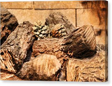 Fireplace Logs Canvas Print by Linda Phelps