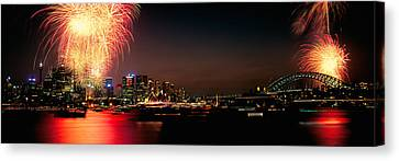 Firework Display At New Years Eve Canvas Print by Panoramic Images