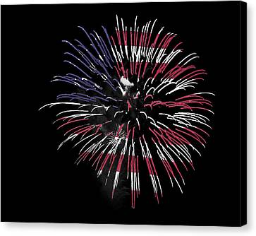 Firework Over Flag Canvas Print by Robert Graybeal