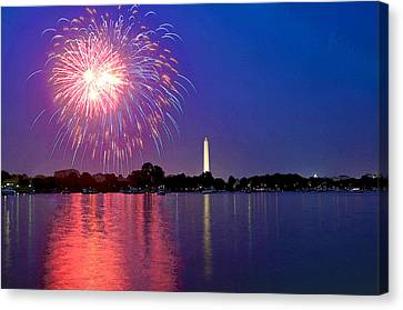 Fireworks Across The Potomac Canvas Print by Steven Barrows
