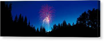 Fireworks, Canada Day, Banff National Canvas Print by Panoramic Images