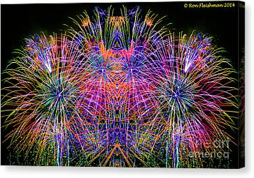Fireworks Faces Canvas Print by Ron Fleishman