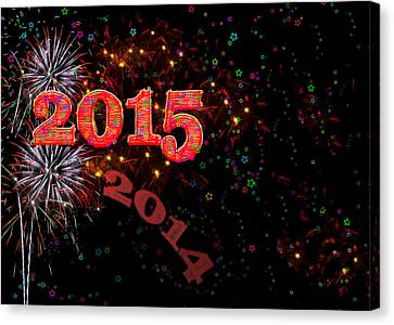 Fireworks Happy New Year 2015 Canvas Print by Marianne Campolongo