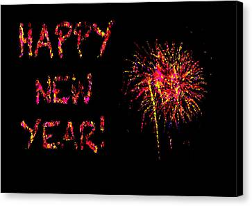 Fireworks Happy New Year In Pink Canvas Print by Marianne Campolongo