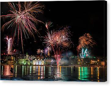 Fireworks On New Years Eve, Reykjavik Canvas Print by Panoramic Images