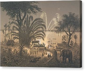 Fireworks On The River At Celebrations Canvas Print by Louis Delaporte