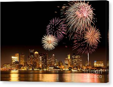 Fireworks Over Boston Harbor Canvas Print by Susan Cole Kelly