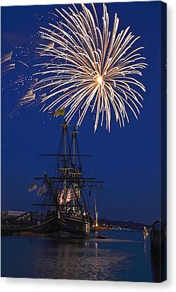 Fireworks Over The Salem Friendship Canvas Print by Toby McGuire