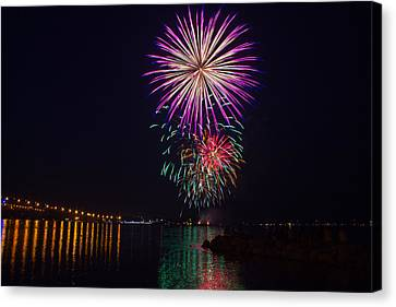 Fireworks Over The York River Canvas Print by James Drake