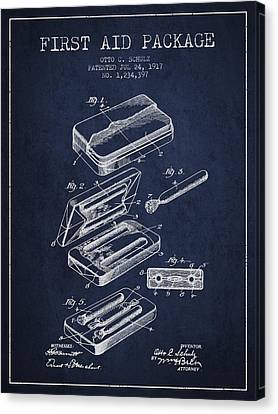 First Aid Package Patent From 1917 - Navy Blue Canvas Print by Aged Pixel