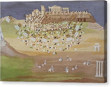 First Battle Of Athens In 1826 Canvas Print by Greek School