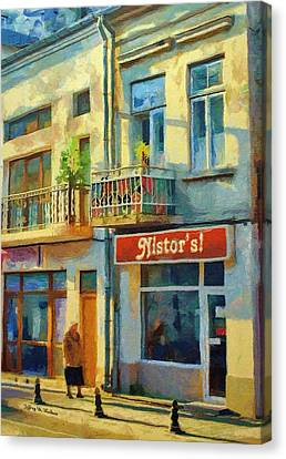 First Customer Of The Day Canvas Print by Jeff Kolker