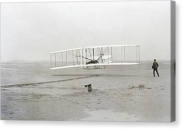 First Flight Captured On Glass Negative - 1903 Canvas Print by Daniel Hagerman
