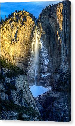 First Light On Yosemite Falls Canvas Print by Mike Lee