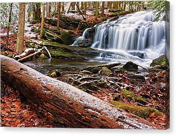 First Snow Tucker Brook Falls Canvas Print by Jeff Sinon
