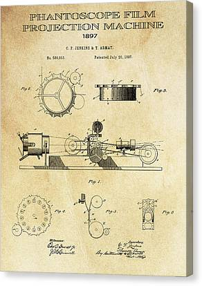 First True Motion Picture Projector Patent  1897 Canvas Print by Daniel Hagerman