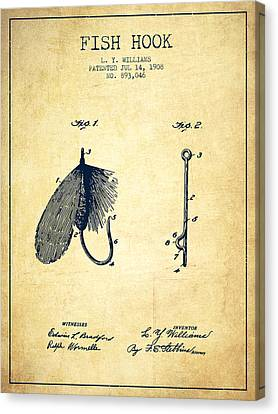 Fish Hook Patent From 1908- Vintage Canvas Print by Aged Pixel