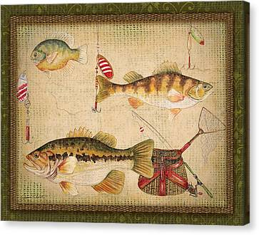 Fish Trio-a-greenborder Canvas Print by Jean Plout