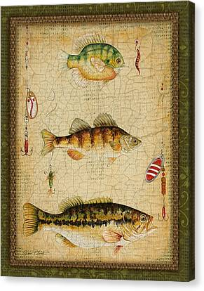 Fish Trio-c-green Canvas Print by Jean Plout