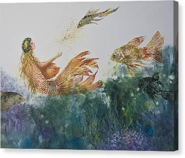 Fishbowl Mermaid Canvas Print by Nancy Gorr