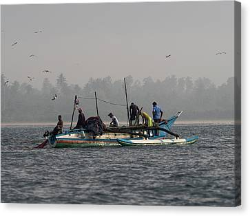 Fisherman Hauling Nets Aboard In Waters Canvas Print by Panoramic Images