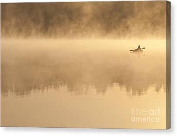 Fisherman In Kayak, Lake Cassidy Canvas Print by Jim Corwin