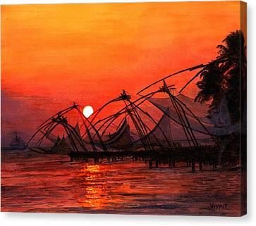 Fisherman Sunset In Kerala-india Canvas Print by Vidyut Singhal