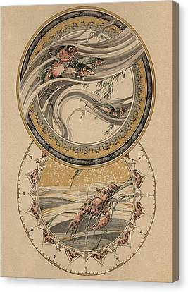 Fishes And Lobster Canvas Print by Jules-Auguste Habert-Dys
