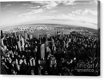 Fisheye Evening View Of Manhattan East Towards East River And Queens New York City Canvas Print by Joe Fox