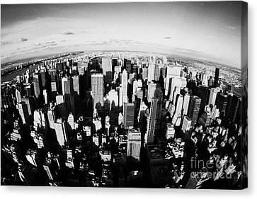 Fisheye View North Towards Central Park Manhattan New York City Usa Canvas Print by Joe Fox