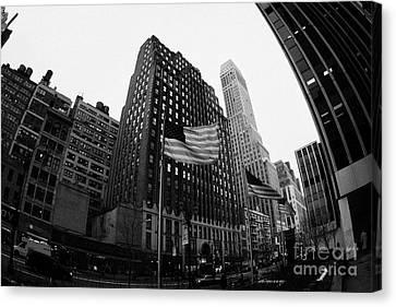 Fisheye View Of 34th Street From 1 Penn Plaza New York City Canvas Print by Joe Fox