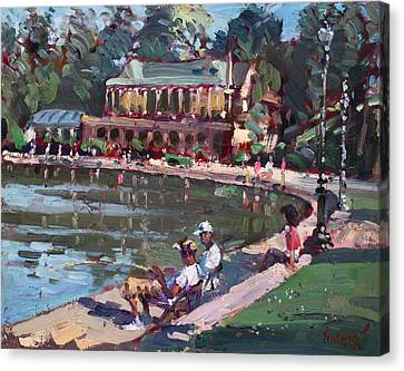 Fishing At Delaware Lake Buffalo Canvas Print by Ylli Haruni